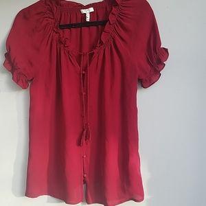 Joie short sleeve silk ruffle T shirt